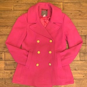 LIKE NEW J.Crew Majesty Peacoat in Hot Pink Sz 4